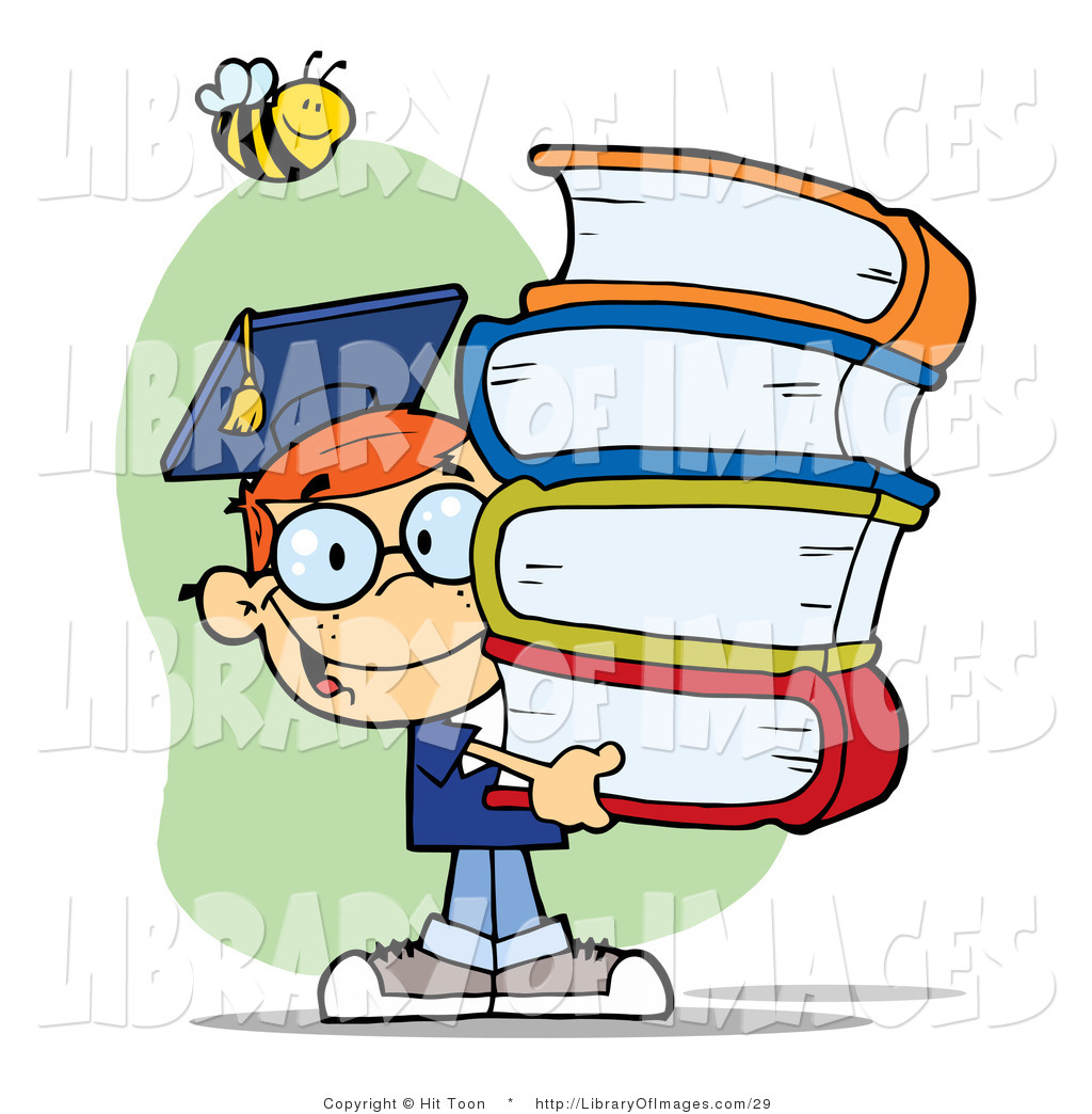 clip art of a bee over a happy red head graduate school boy carrying rh libraryofimages com S Tudents Graduate Diploma Clip Art Graduates Both Genres