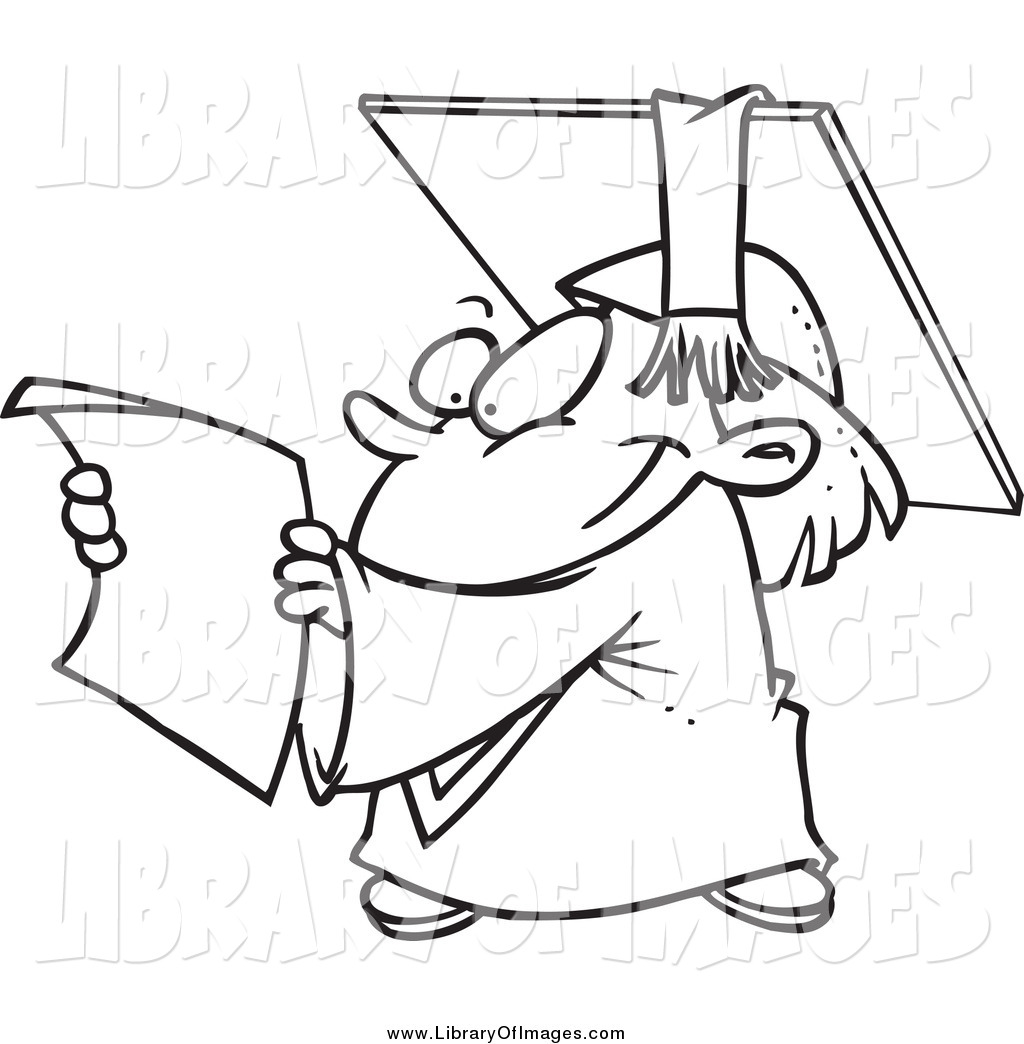 Clip Art Of A Black And White Happy Graduate Kid Reading Certificate