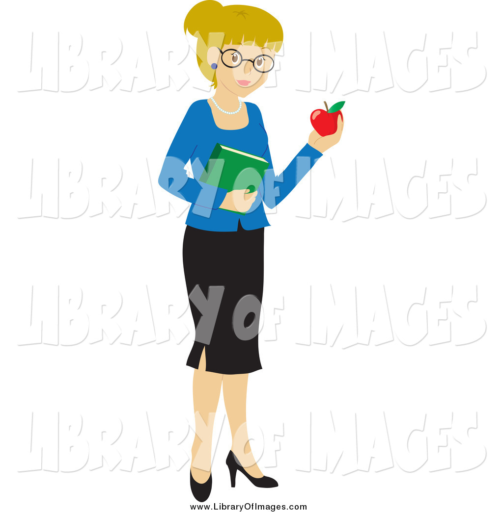 clip art of a blond white school teacher woman carrying an apple and rh libraryofimages com back to school clipart for teachers clipart for school teachers