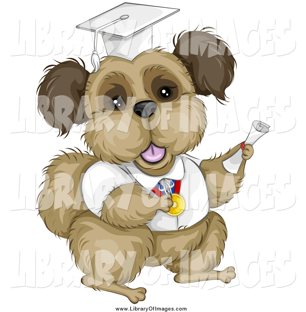 Clip Art of a Brown Terrier Dog Graduate in a White Cap and Gown by ...
