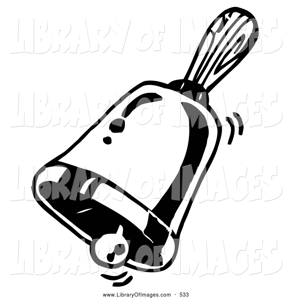 clip art of a coloring page of a ringing handheld bell by