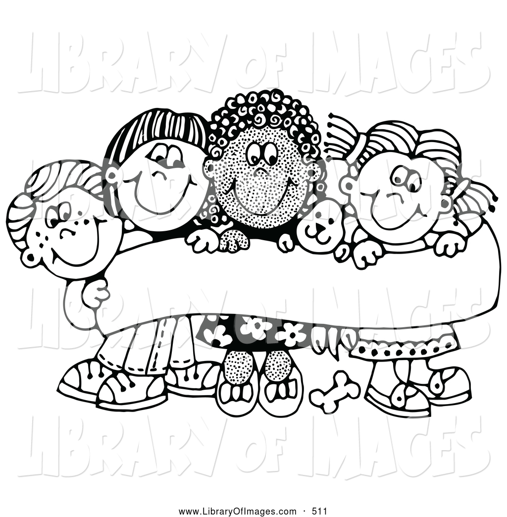 clip art of a coloring page of four caucasian and african american children smiling and holding - Children Coloring Pictures