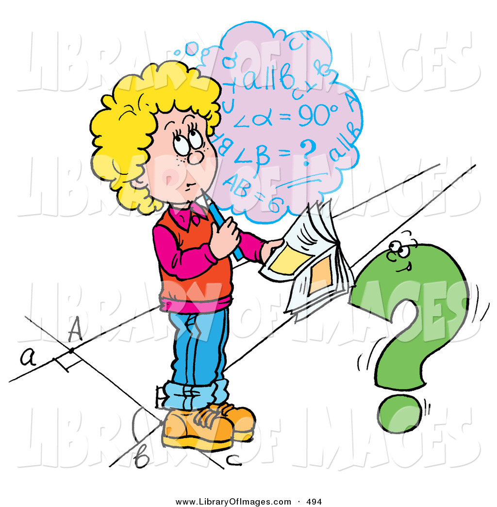 Clip Art of a Confused School Girl Trying to Figure out a Math ...