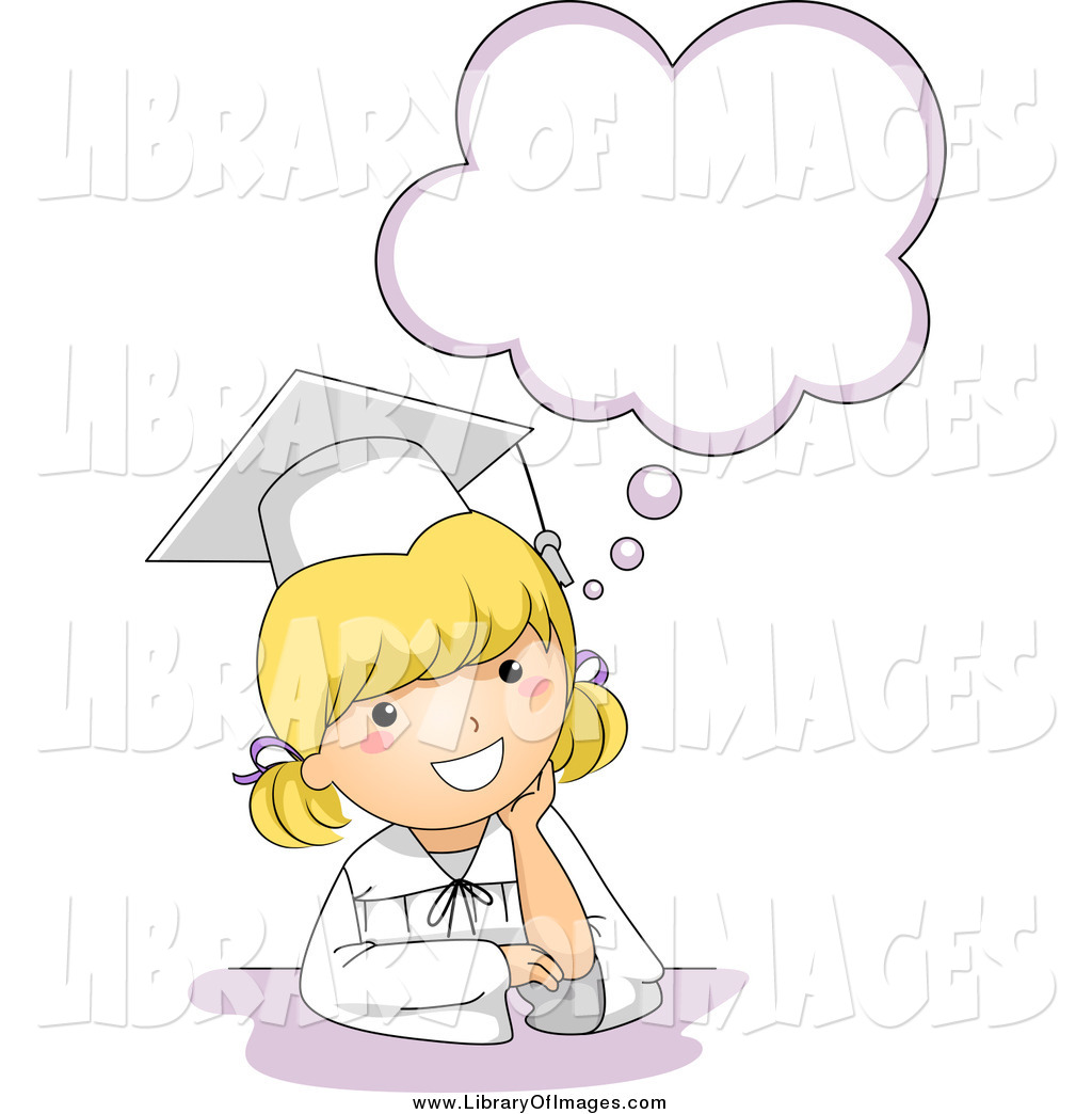 Clip Art of a Cute Blond Graduation Girl Thinking by BNP Design ...