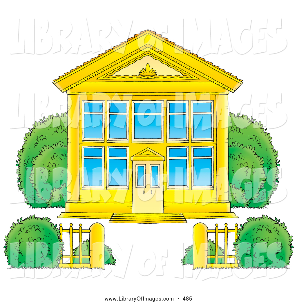 Clip Art of a Golden School Building with Blue Windows and a Gate ...