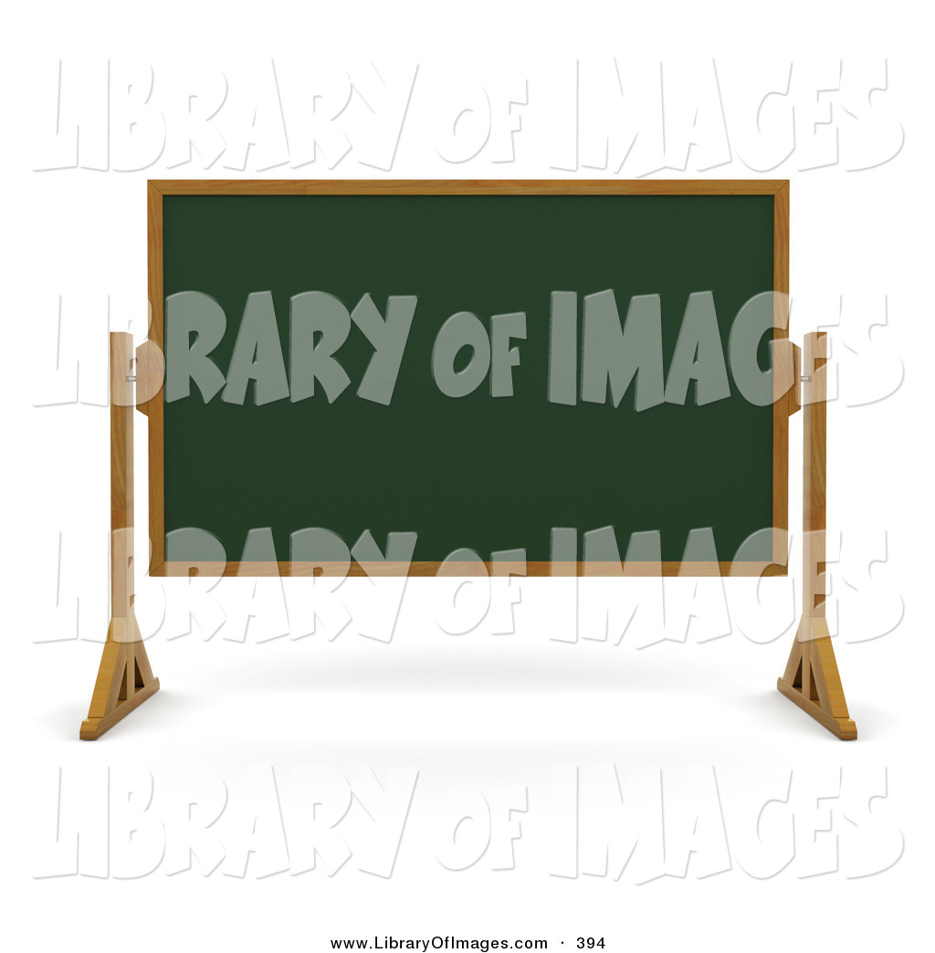 Clip Art Of A Green Chalk Board With Wood Frame Wiped Clean And Standing