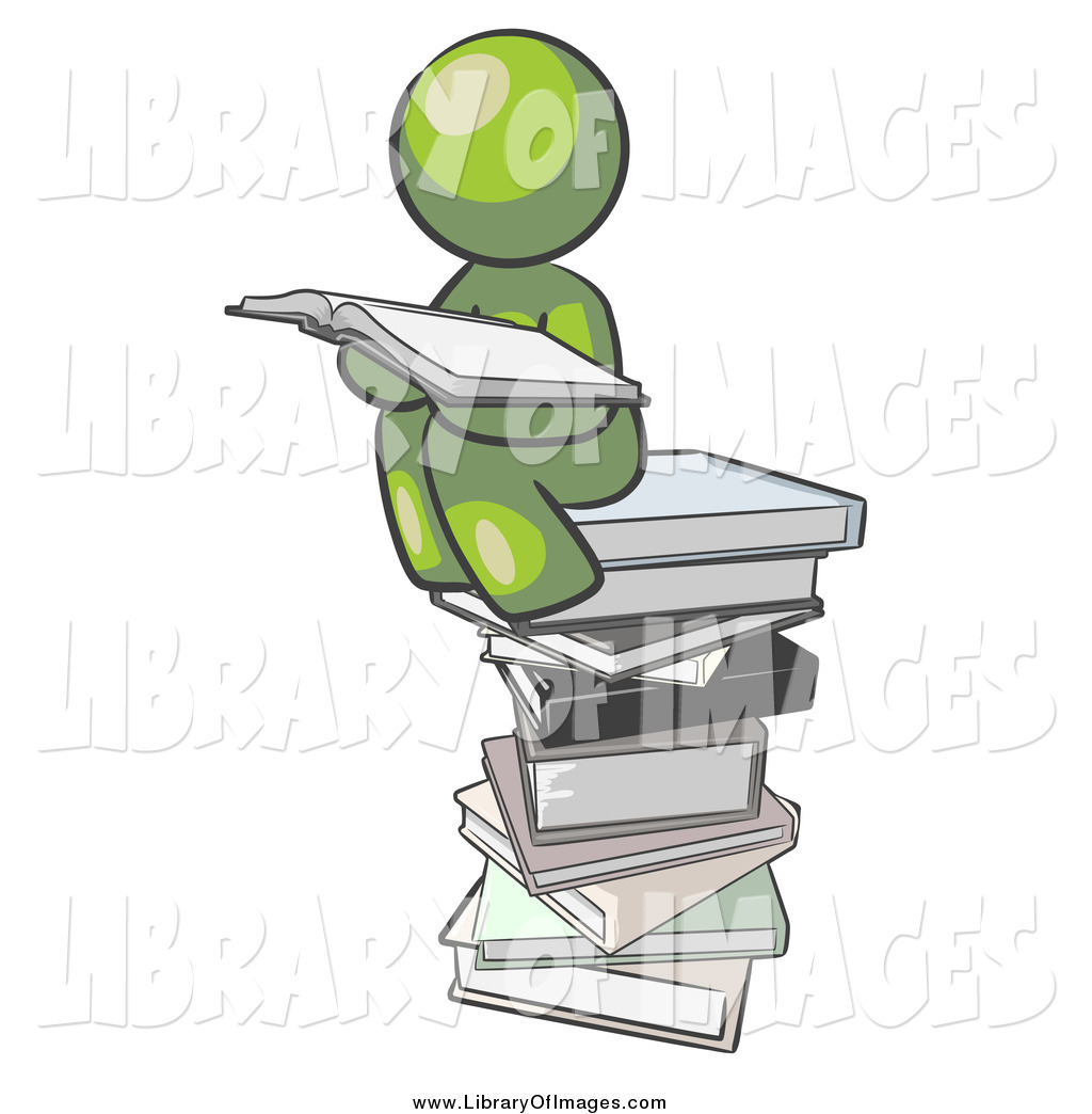 Larger Preview: Clip Art of a Green Man Reading on a Stack of Books by ...