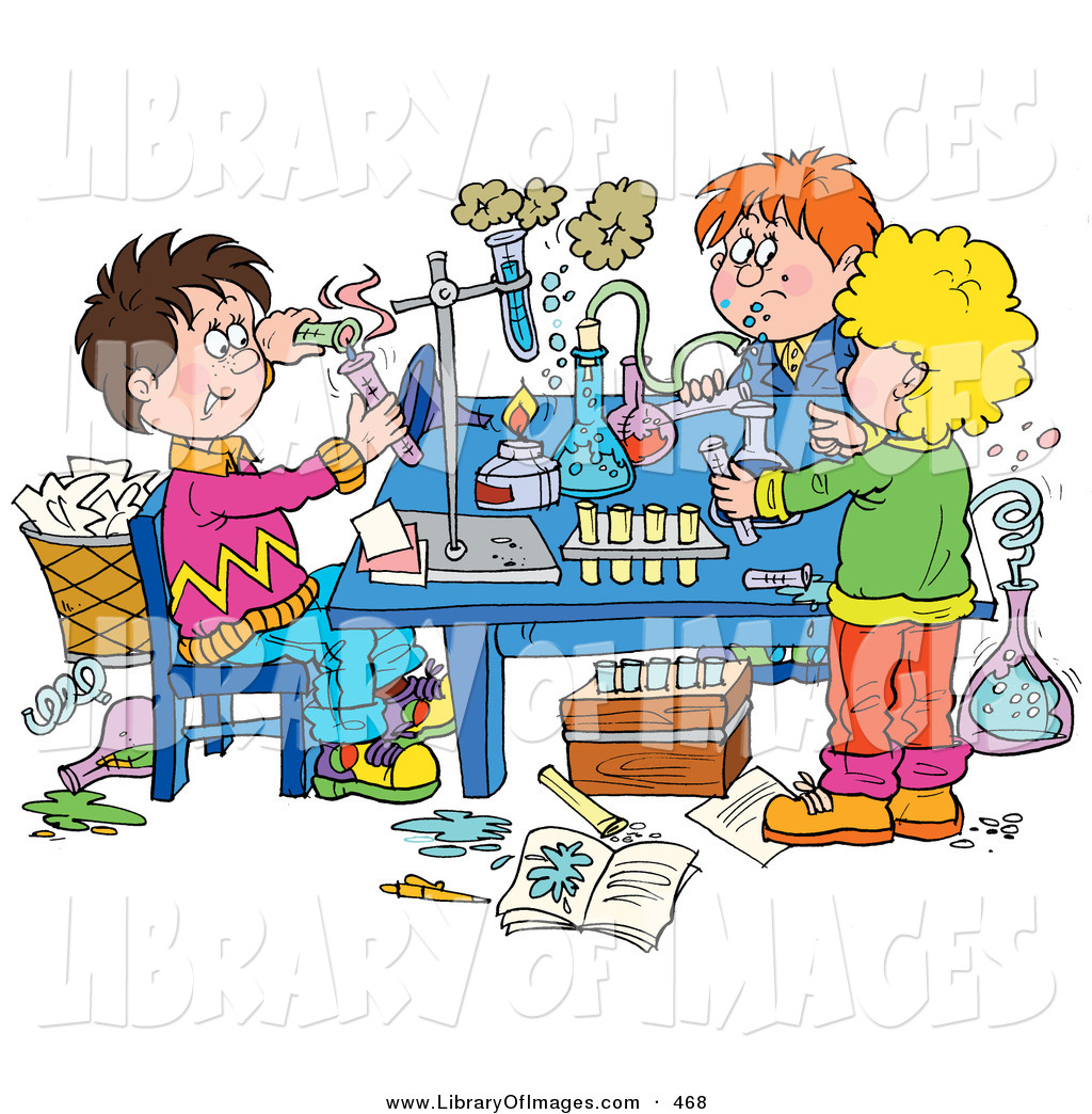 clip art of a group of school children conducting science rh libraryofimages com Science Lab Sillhouette Cartoon Science Clip Art