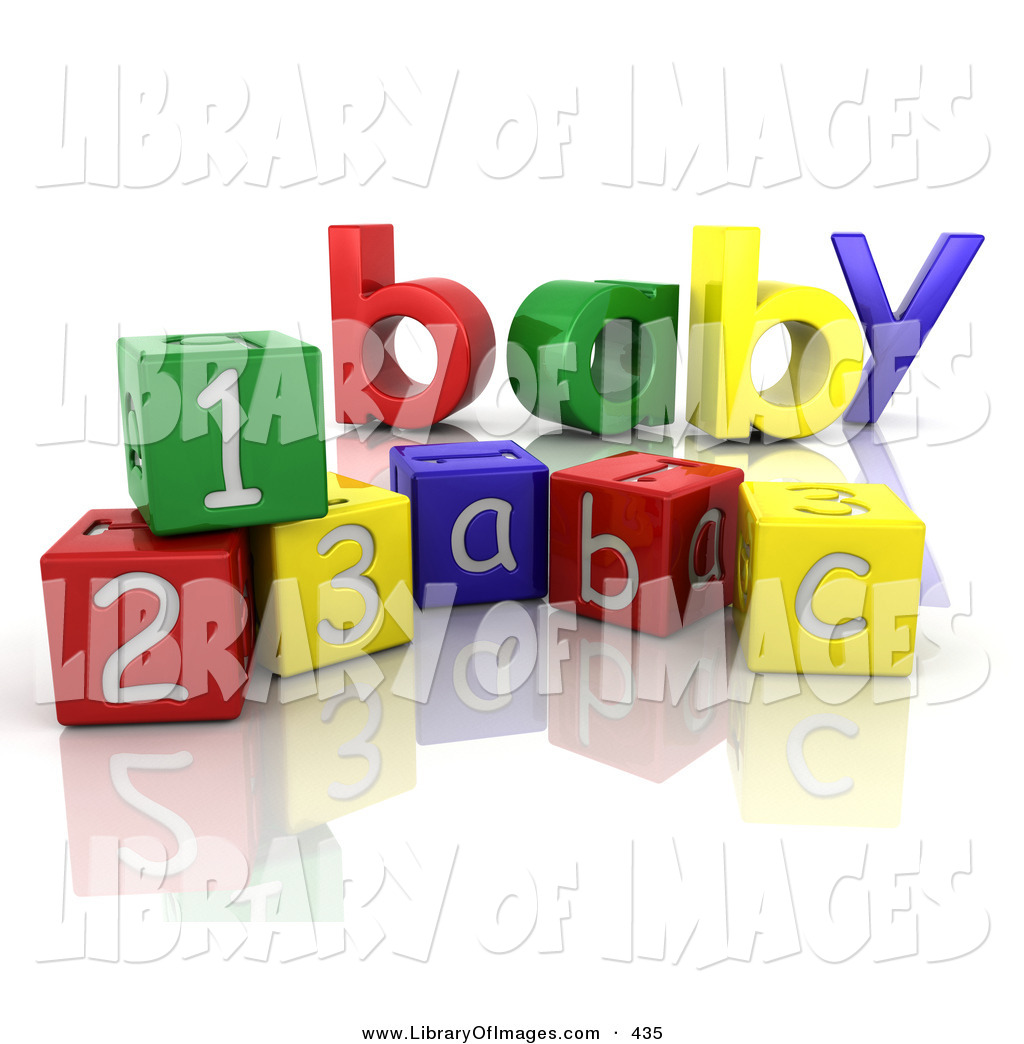 Clip Art of a the Colorful Word Baby Behind Number and Alphabet ...