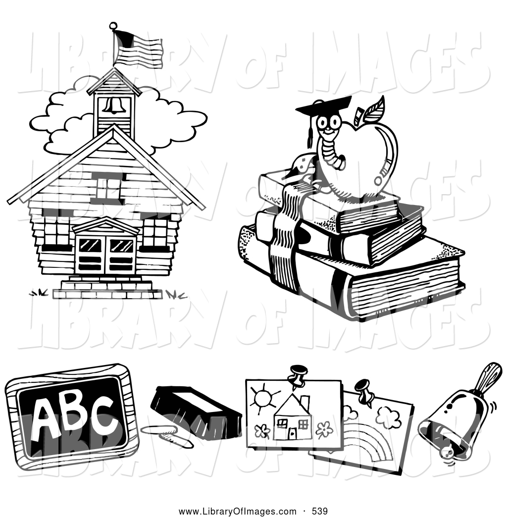 clip art of a three black and white icons of a school house book worm chalk and chalkboard children by loopyland 539 image clipart