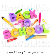 Clip Art of 3d BACK tO SCHOOL and Accessories by BNP Design Studio
