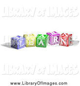 Clip Art of 3d Colorful Alphabet Blocks Spelling LEARN by AtStockIllustration