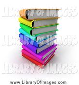 Clip Art of 3d Colorful Stacked Books by Frank Boston