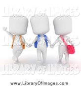 Clip Art of 3d Happy White School Kids Holding Hands and Walking by BNP Design Studio