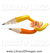 Clip Art of 3d Orange and Yellow Tangled Pencils by Frank Boston