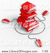 Clip Art of 3d Red Computer Mice Connected to a Stack of Red Text Books by Tonis Pan