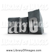 Clip Art of 3d Silver ABC Typset Blocks by Frank Boston