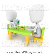 Clip Art of 3d White Students Drawing in Art Class by BNP Design Studio