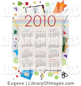 Clip Art of a 2010 Calendar Year with All Months and School Supplies by Eugene