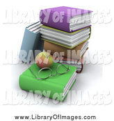 Clip Art of a 3d Apple with Glasses with a Stack of Text Books by KJ Pargeter