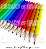Clip Art of a 3d Array of Colorful Pencils by Frank Boston