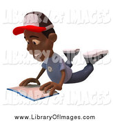 Clip Art of a 3d Black Boy Reading a Book on His Belly by Julos