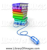 Clip Art of a 3d Blue Computer Mouse Connected to a Stack of Colorful Books by Frank Boston