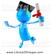 Clip Art of a 3d Blue Man Graduate Jumping with His Diploma by Julos