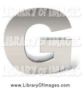 Clip Art of a 3d Capital Letter G in Chrome by Julos