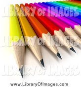 Clip Art of a 3d Colorful Array of Sharpened Pencils by Frank Boston