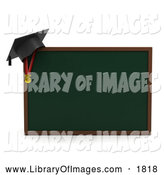Clip Art of a 3d Graduation Cap on a Chalkboard by BNP Design Studio