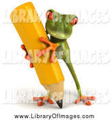 Clip Art of a 3d Green Frog Holding a Large Yellow Pencil by Julos