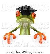 Clip Art of a 3d Green Graduate Frog over a Sign by Julos