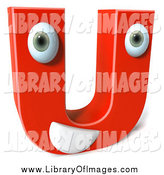 Clip Art of a 3d Happy Red Character Letter U by Julos