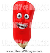 Clip Art of a 3d Happy Red Pencil Character by Julos