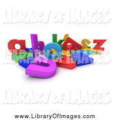 Clip Art of a 3d Jumbled Mess of Colorful Letters by Frank Boston