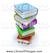 Clip Art of a 3d Messy Stack of Colorful Books by KJ Pargeter