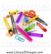 Clip Art of a 3d Notebook with Colorful Crayons and Pencils by BNP Design Studio