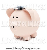 Clip Art of a 3d Piggy Bank Wearing a Graduation Cap by