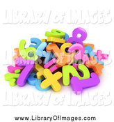 Clip Art of a 3d Pile of Colorful Numbers by BNP Design Studio