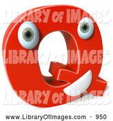 Clip Art of a 3d Red Letter Q Character by Julos