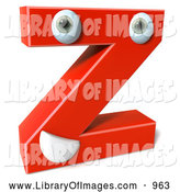 Clip Art of a 3d Red Letter Z with a Face by Julos