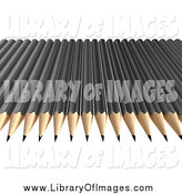 Clip Art of a 3d Row of Black Pencils by Frank Boston