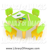 Clip Art of a 3d School Table with Crayons in an Art Class by BNP Design Studio