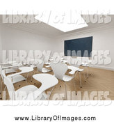 Clip Art of a 3d Skylight over a Classroom with White Desks and a Chalkboard by Frank Boston