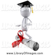 Clip Art of a 3d White Character Surfing on a Diploma by Julos