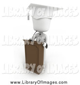 February 16th, 2014: Clip Art of a 3d White Graduate at a Podium by BNP Design Studio