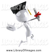 Clip Art of a 3d White Graduate Jumping with a Diploma by Julos