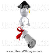 Clip Art of a 3d White Graduate Surfing on a Diploma by Julos