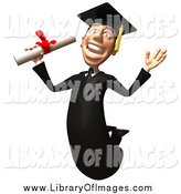 October 2nd, 2014: Clip Art of a 3d White Male Grad Student Jumping with a Diploma by Julos
